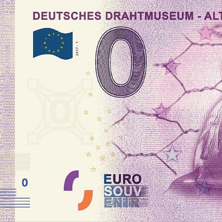 Das Drahtkleid aus dem Deutschen Drahtmuseum in Altena ziert eine 0-Euro-Note.